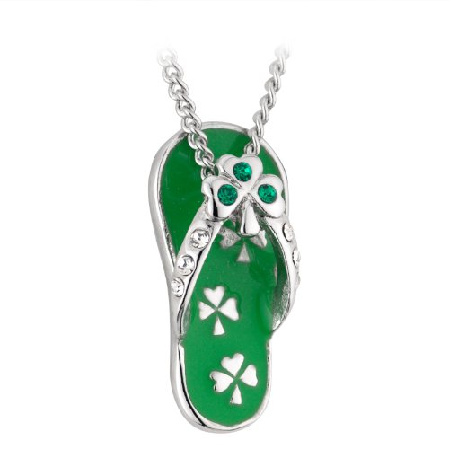 Shamrock Flip Flop Necklace Rhodium Plating, Enamel & Crystal