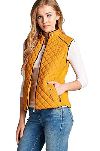 (Active USA Quilted Padding Vest With Suede Piping Details Sizes from S to 3XL (Dark Mustard-Medium))