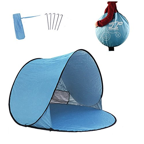 Asenart Automatic Instant Portable Outdoors Beach Tent XXL Lightweight Portable Family Sun Shelter Cabana with Carry Case & Stakes (2-3persons) Anti UV For Outdoor Garden Camping Fishing Picnic (Shelter Warmers Toe)