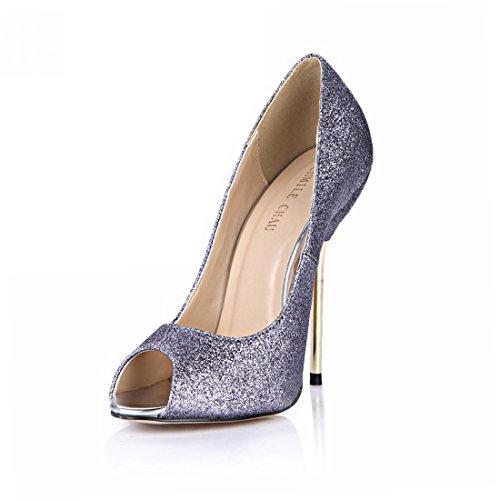 plusieurs bout Coloris gris Chmile aiguille stiletto Ouvert escarpins Femmes talon Brillant Haut sexy Métal Chau Xnw4qSwR