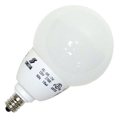 LongStar 00739 - FE-G16-7W/27K E12 Globe Screw Base Compact Fluorescent Light Bulb