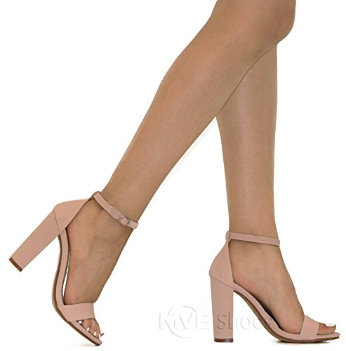 Fashion Shoes Heeled MVE Women's Chunky D rose Ankle 9 Strap Sandals BHnwq7EwR