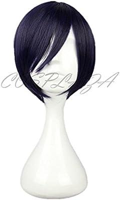 Cosplaza peluca de cabello corto negro azulado estilo animé de ...