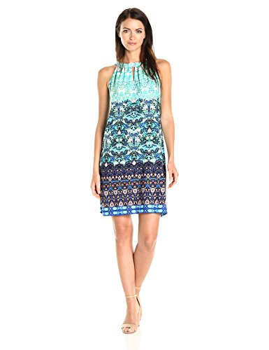 Taylor Dresses Women's Jersey Mixed Print Shift with Tie at Neck, Turquoise/Multi, ()