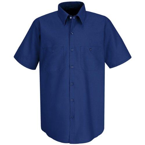 Red Kap Men's Industrial Short-Sleeve Work Shirt,Royal Blue, (Blue Short Sleeve Shirt Top)