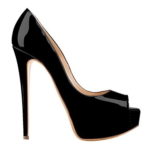 Negro de Mujer Schwarz Tacón Zapatos EKS lackleder afn8q