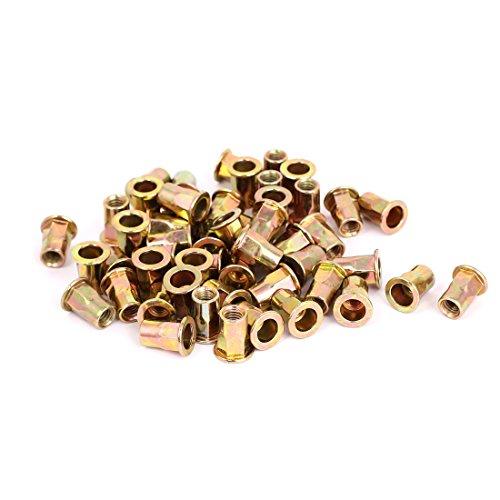 Carbon Steel Body (uxcell 50pcs M6x15mm Carbon Steel Flat Head Half Hex Body Rivet Nuts Nutserts)
