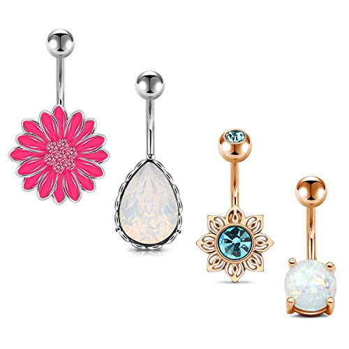 - QWALIT 14G Belly Button Rings Navel Rings Surgical Steel CZ Jeweled Tear Drop Navel Piercing Pack Curved Barbell for Women Girls Short Belly Button Piercing Bar JNC Body Jewelry 3/8