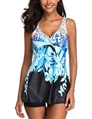 7c570500c351e Alangbudu Women 2 Piece V Neck Print Racerback Tankini Swimsuit with  Boyshort Bottom
