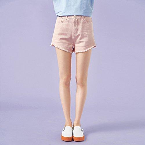 Pantaloncini in mezza cotone lunghezza a Donna denim Pink in Macaron Pantaloni multicolore estivi sottili 5rYx51