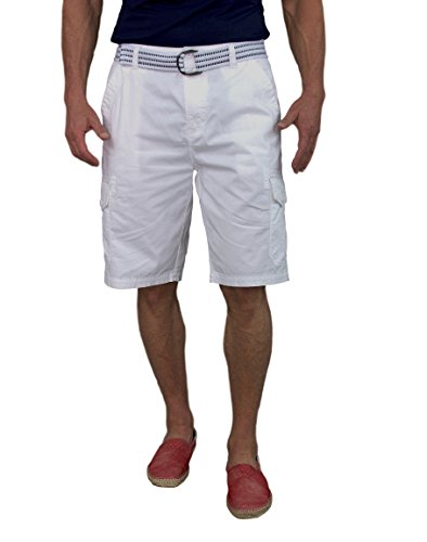Short Fin Cargo Short With A Belt (White Size 32 8012) (White Cargo Shorts)