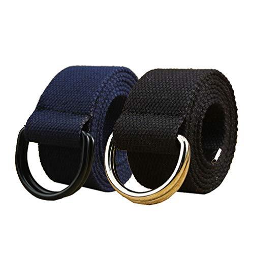 Canvas Belt, 2 Pack Web Belts for Women Double D Ring Buckle Black&Navy 50