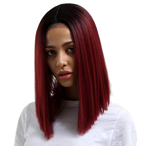 Sunyastor Wigs 2019 Original Design Wig with Baby Hair Human Hair Full End Short Bob Wigs for Women Wigs Silky Straight Middle Part Heat Resistant Cosplay Wig -