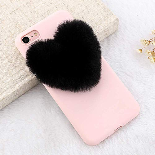 for iPhone 7 Plus Case iPhone 8 Plus Case LAPOPNUT Luxury Cute 3D Fuzzy Pom Plush Love Heart Soft Silicone Back Protective Cover Furry Pom Case TPU Bumper for Girls, Black Pom