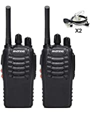 BaoFeng BF-888S(BF-88A) FRS Radio Walkie Talkie 0.5W 16-Channel Two Way Radio with Acoustic Tube Earpiece, LED Flashlight, USB Charger 2 Pack