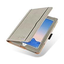 JAMMYLIZARD [ iPad 4 (Retina Display), iPad 3 & 2 Case ] The Original Grey & Tan Leather Smart Cover