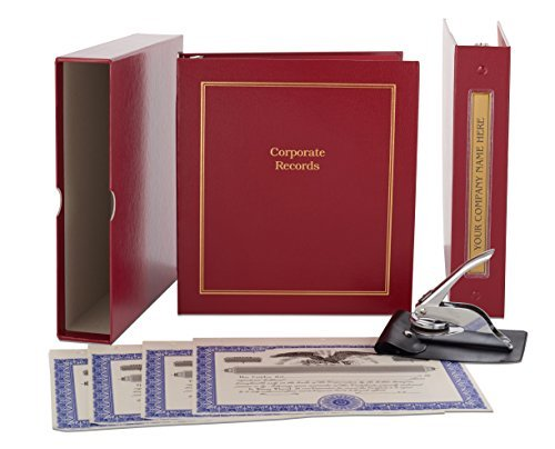 Red Corporate Kit - Binder, Slipcase, Minutes & Bylaws, Stock Certificates, Index Tabs & Metal Corporate Seal -