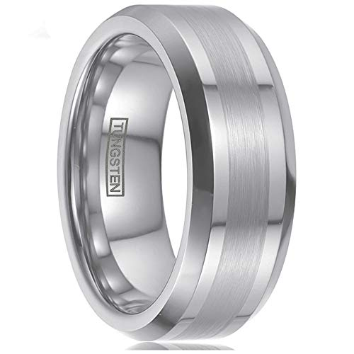 Personalized Engraved 6mm/8mm Silver Tungsten Wedding Band w/ 1/2 Brushed Finish Band & Beveled Edges. (Tungsten (8mm), 10.5)