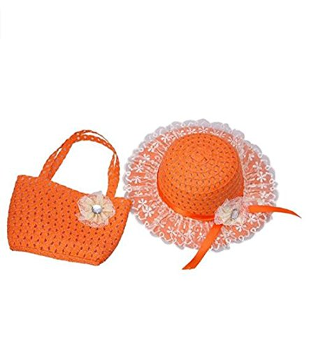 (Jiuhexu Kids Straw Sun Hat Handbag Sets Children Beach Caps Prop Outfit 9Colors)