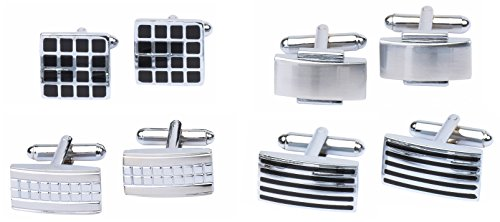 4+Pairs+of+Classic+Cufflinks+By+Men%27s+Collection+%28Silver+2%29