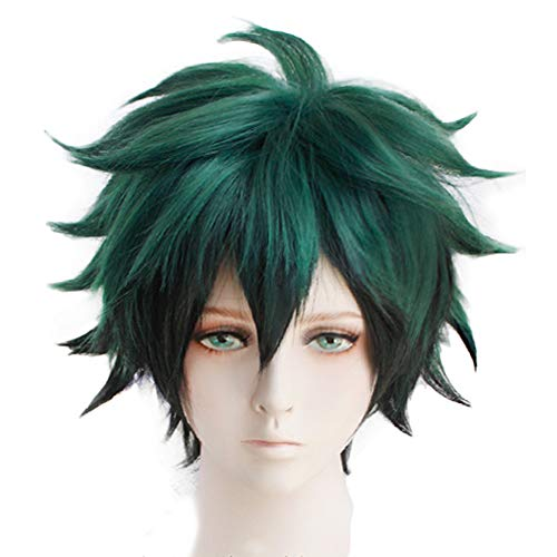Anogol Hair Cap+Green Short Wavy Cosplay Wig Anime Costume For Boy's Synthetic Hair Wigs -