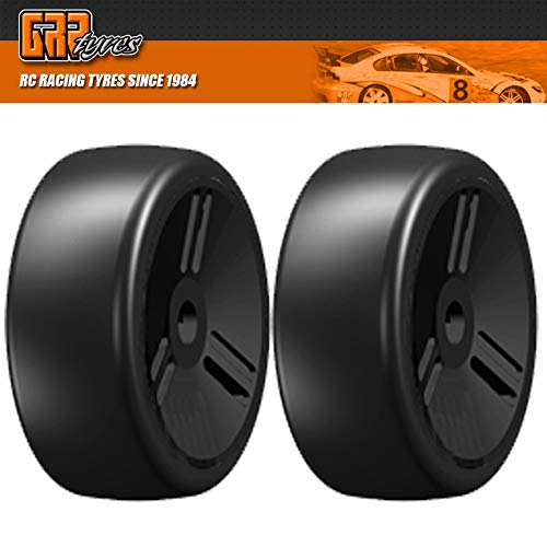 GRP GTV02-S4 1:8 GT T02 SLICK VELOCITY S4 SoftMedium Tires Closed Black Wheel (2)