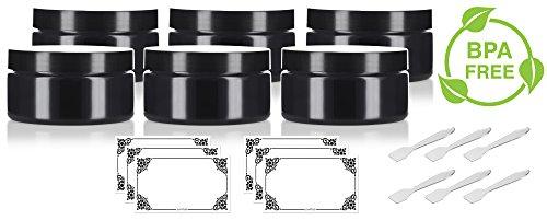 Black PET Plastic (BPA Free) Refillable Low Profile Jar - 8 oz (6 Pack) + Spatulas and (Black Plastic Jars)