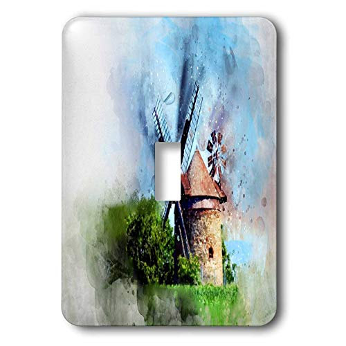 (3dRose lens Art by Florene - Watercolor Art - Image of Painting Of Dutch Windmill in Watercolor - Light Switch Covers - single toggle switch (lsp_304522_1))