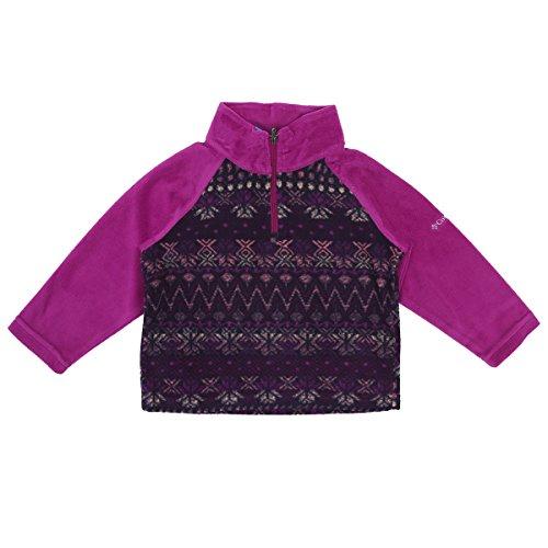 Columbia Little Girls' Glacial Ii Printed Fleece Half Zip Jacket, Deep Blush Nordic Stripe, 2T (Micro Fleece 1/2 Zip Pullover)