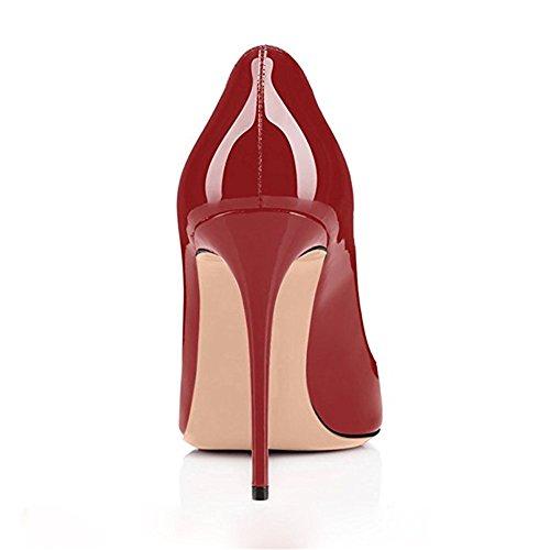 Talon Sexy Pompes Vin Rouge EscarpinsTalons Haut Pan Slip sur Chaussures CM de Bout 10 Aiguille Femmes Robe Fête Caitlin Semelle Rond FvUOqBRR