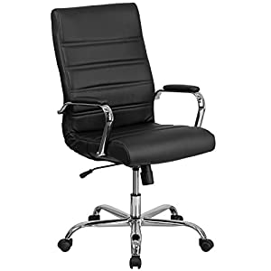 Flash Furniture High Back Leather Executive Swivel Chair with Chrome Base and Arms