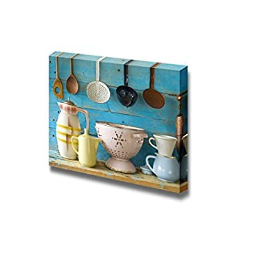 Canvas Prints Wall Art - Various Vintage Kitchen Utensils | Modern Wall Decor/Home Art Stretched Gallery Wraps Giclee Print & Wood Framed. Ready to Hang - 16