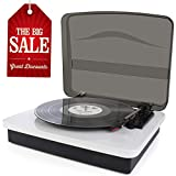 LED Vinyl Record Player-GOODNEW Vinyl Record Player to RCA Output,Bluetooth Turntable, Belt-Driven System, 3-Speed Retro Design LP Player