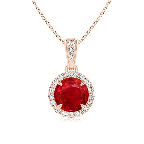Claw-Set Ruby and Diamond Halo Dangle Pendant in 14K Rose Gold (6mm Ruby)
