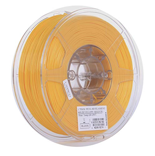 eSUN 3D 1.75mm Solid Yellow PETG 3D Printer Filament 1KG Spool (2.2lbs), 1.75mm Solid Opaque Yellow