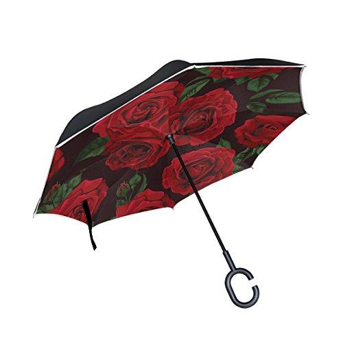 (ALAZA Inside Out Folding Vintage Rose Floral Leaf Inverted Umbrella, Large Double Layer Outdoor Rain Sun Car Reversible Umbrella)
