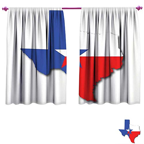 (Texas Star Window Curtain Drape Outline of The Texas Map American Southwest Austin Houston City Customized Curtains W55 x L45 Vermilion White Violet Blue)