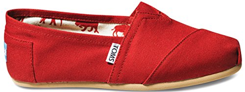 Toms Women's Classic Canvas Red Slip-on Shoe – 7 B(M) US