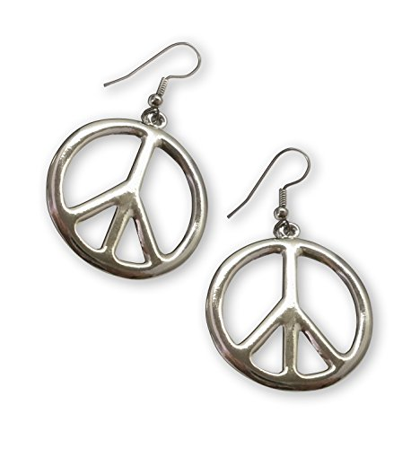 Hippie Peace Sign Dangle Earrings Polished Silver Finish (Hippies Outfit)