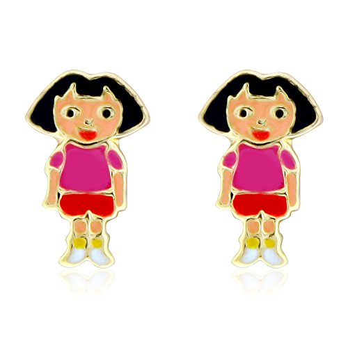 Yellow Gold Dora - 14K Yellow Gold Pink And Red Enamel Dora Screw Back Earrings