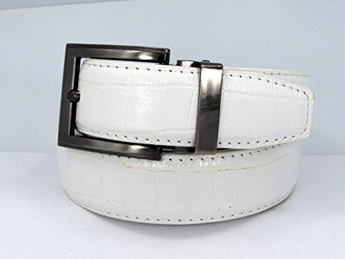 Crocodile Embossed Leather Belt (38, White) #11