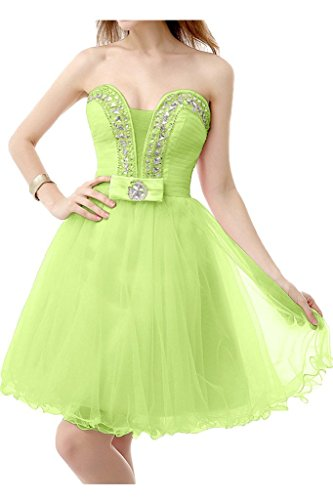 DressyMe Women's Strapless Party Dresses Short Tulle Beads Cocktail Dress-6-Lime Green ()