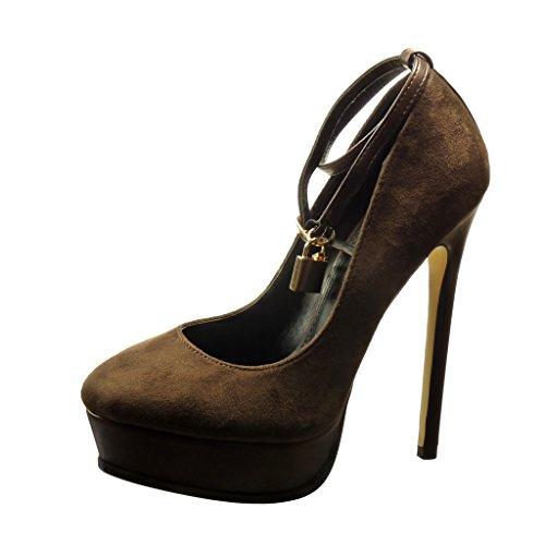 Angkorly - damen Schuhe Pumpe - Plateauschuhe - Sexy - Schmuck - golden Stiletto high heel 14 CM - Braun