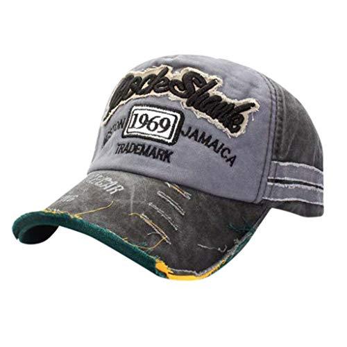 Duseedik Baseball Cap for Men Women's Unisex Summer Vintage Adjustable Denim Distressed Trucker Hat Anti-UV Sun Hat (Blue) -