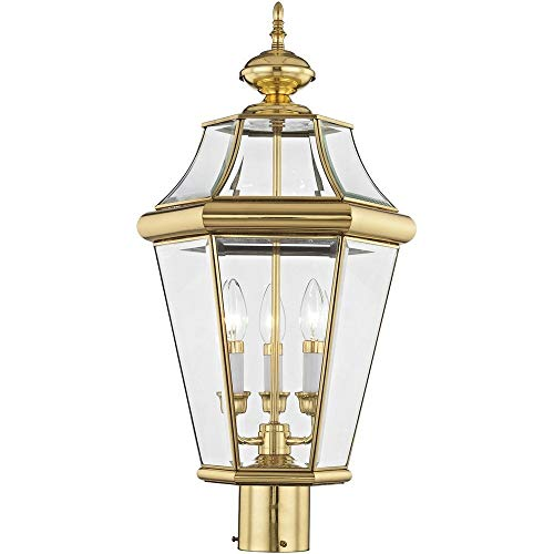 Livex Lighting 2364-02 Georgetown - Three Light Outdoor Wall Lantern, Polished Brass Finish with Clear Beveled Glass