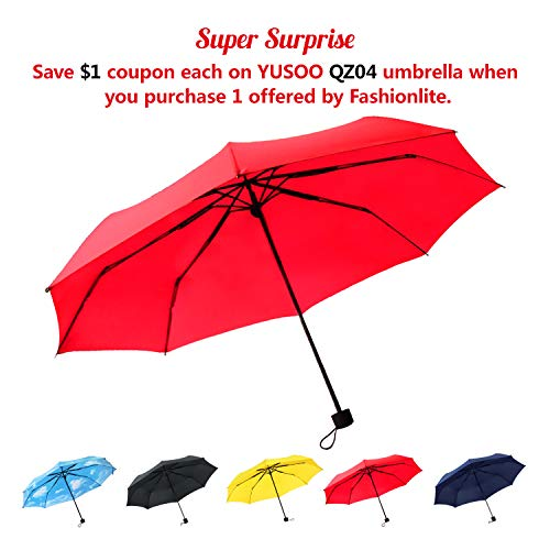 YUSOO Travel Folding Compact Umbrella Windproof, UV Proof and Lightweight Umbrella for Men Women and Kids,Red