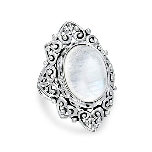 Filigree Scroll Oval Rainbow Natural Gemstone Boho Fashion Statement Full Finger Moonstone Ring Band 925 Sterling Silver