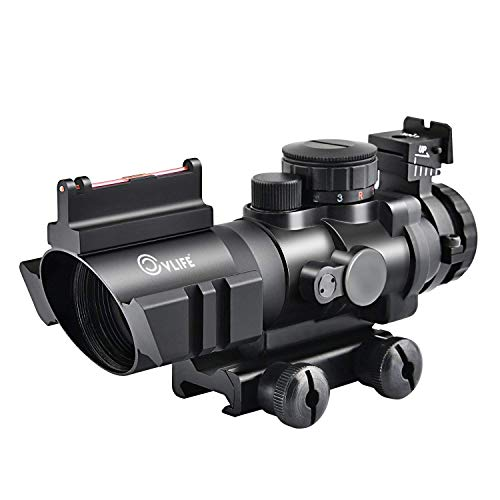 - CVLIFE 4x32 Tactical Rifle Scope Red & Green &Blue Illuminated Reticle Scope with Fiber Optic Sight