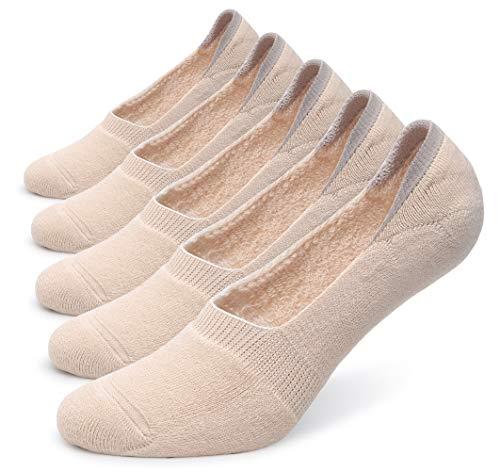 Pareberry 5-Pack Women's Thick Cushion Cotton Casual Low Cut Flat Non-Slip No Show Boat Liner Socks (Women's Shoe Size(9-11.5), Beige)