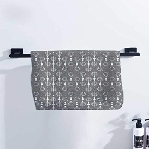 Fakgod Grey Microfiber Hair Towel Various Sized Geometric Circles Rounds Chained Spirals Retro Style in Mod Graphic Art Home Image Hand Towels W27 x L12 Gray White